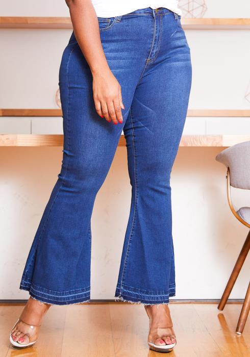 Asoph Plus Size Womens Bootcut Raw Hem Jean