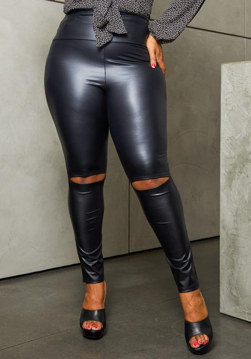 Asoph Plus Size Slit Knee Faux Leather Pants
