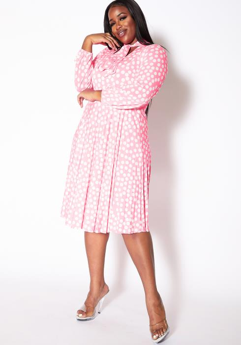Asoph Plus Size Tie Neck Polka Dot Flare Dress