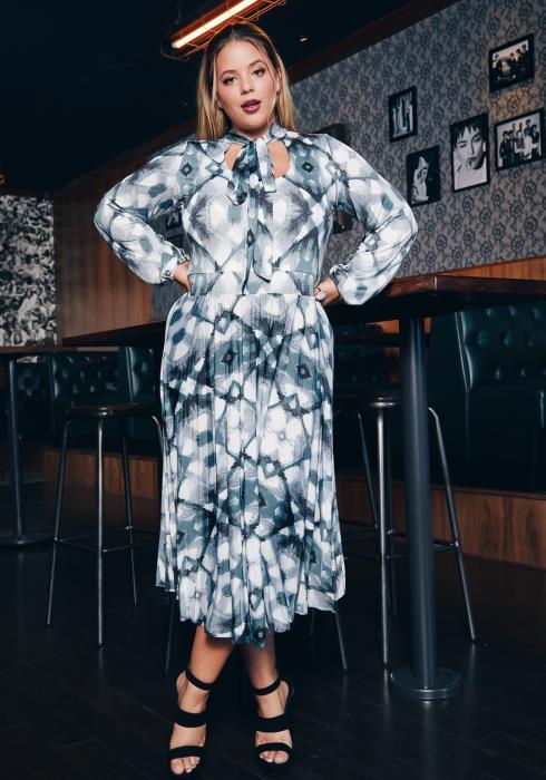 Asoph Plus Size Womens Gradient Geo Print Fit & Flare Dress