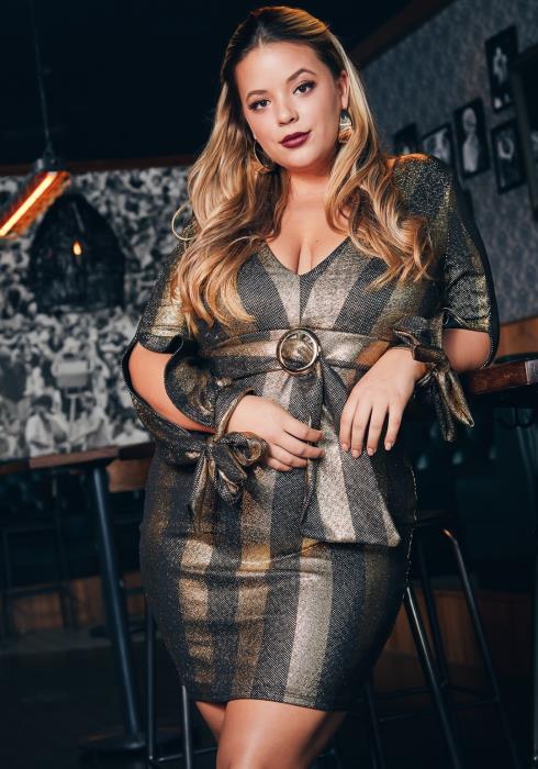 Asoph Plus Size Gold Striped Womens Party Mini Dress