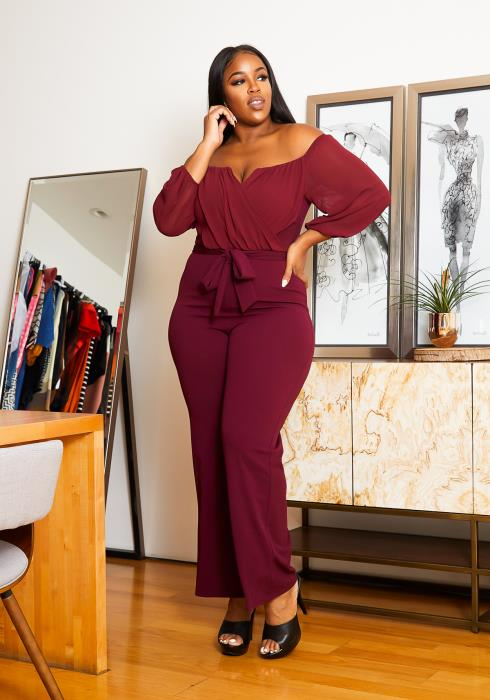 Asoph Plus Size V Slit Off Shoulder Womens Formal Jumpsuit