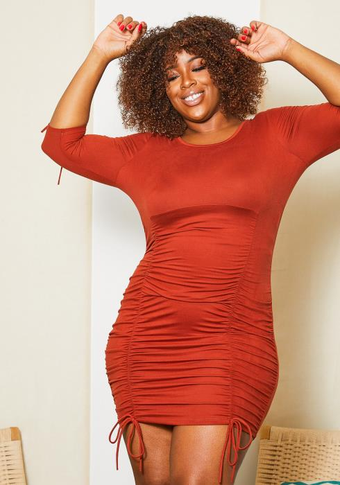 Asoph Plus Size Ruched Bodycon Mini Dress