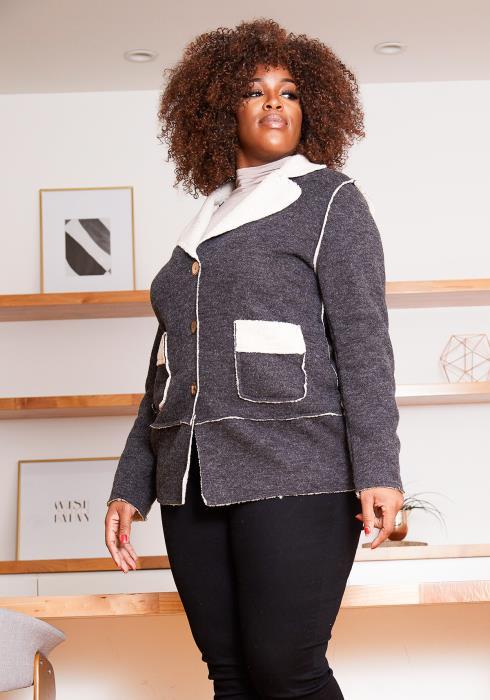 Asoph Plus Size Faux Fur Charcoal & Sherpa Blend Women Coat