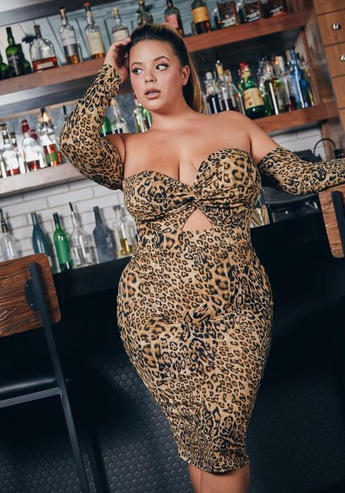 Asoph Plus Size Leopard Babe Off Shoulder Womens Bodycon Dress