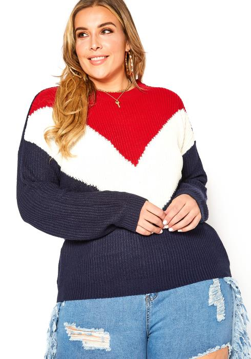 Asoph Plus Size Chevron Print Crewneck Sweater