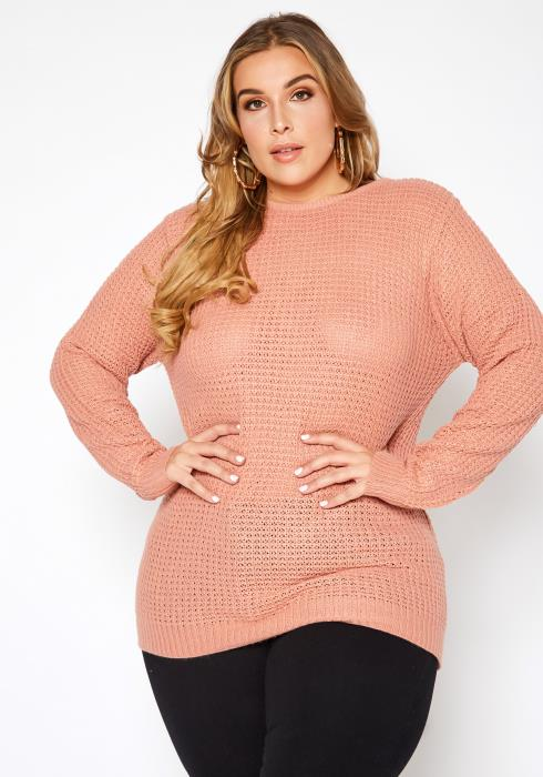 Asoph Plus Size Waffle Knit Cross Lace Back Sweater