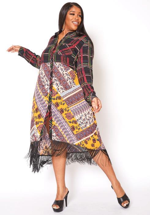 Asoph Plus Size 80s Boho Print Tassel End Collar Midi Dress