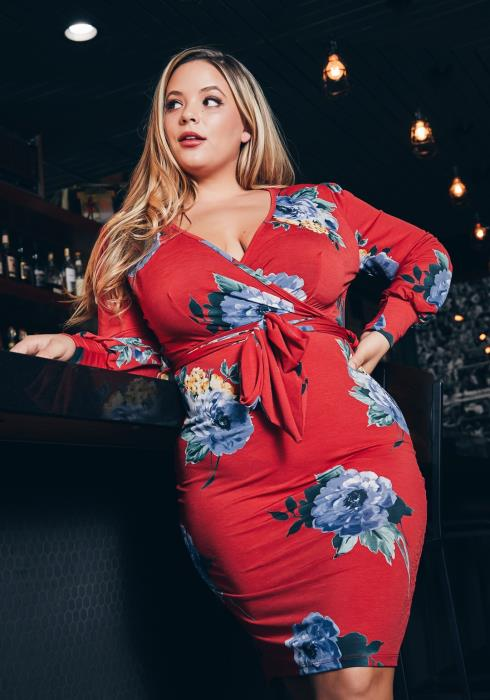 Asoph Plus Size Rose Bloom Printed Women Bodycon Dress