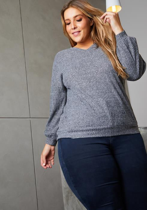 Asoph Plus Size Ribbed Lace Up Back Sweater