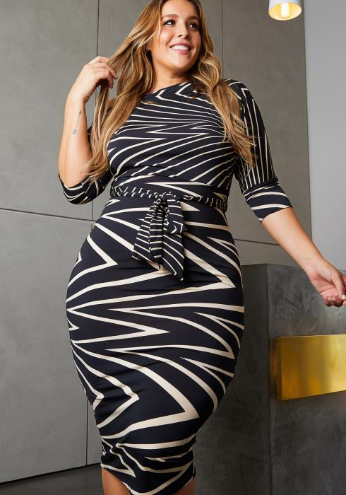 Asoph Plus Size Geo Printed Bodycon Midi Dress
