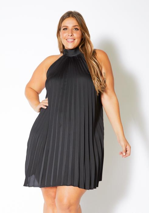 Asoph Plus Size Fancy Pleated Womens Halter Neck Mini Dress