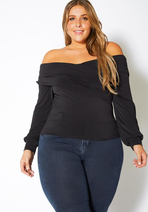 Asoph Plus Size Off Shoulder Overlay Womens Top