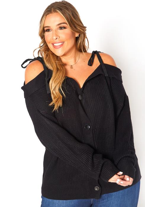 Asoph Plus Size Off Shoulder Waffle Knit Sweater