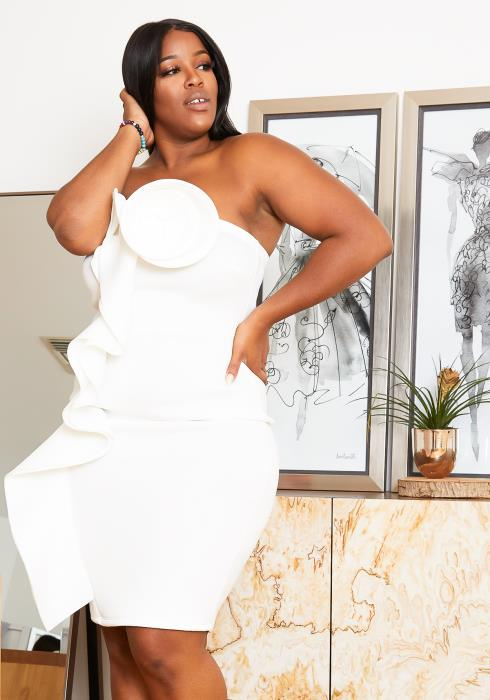 Asoph Plus Size Tube Top Mini Ruffle Dress