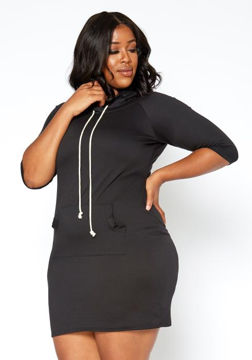 Asoph Plus Size Hooded Sweatshirt Mini Dress