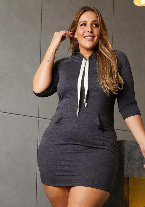 Asoph Plus Size Hooded Sweatshirt Dress