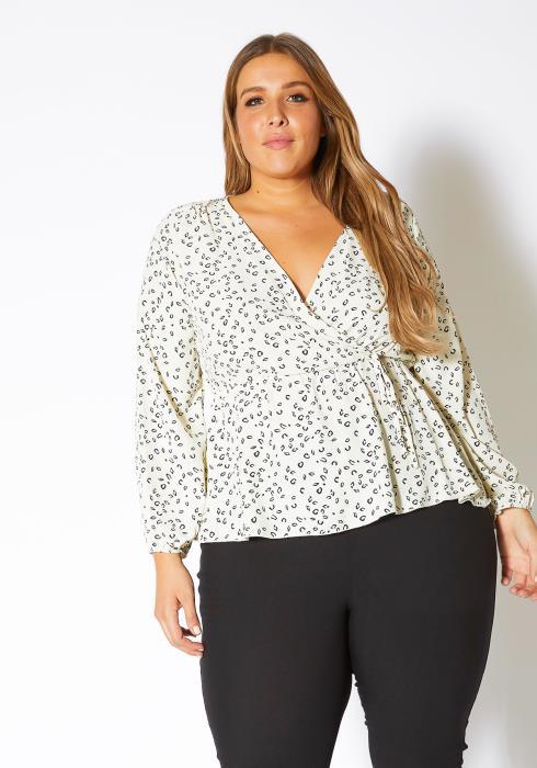 Asoph Plus Size White Leopard Print Womens Peplum Blouse