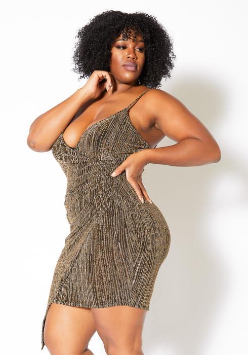 Asoph Plus Size Karat Gold Shimmer Womens Cami Mini Dress