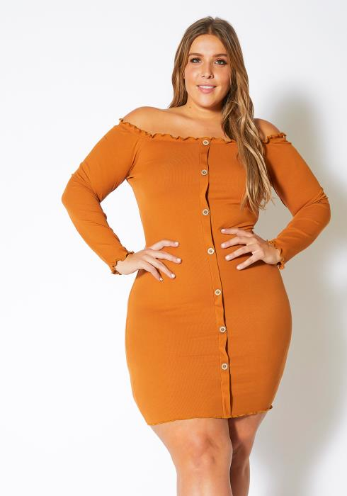 Asoph Plus Size Ruffle Edged Off Shoulder Womens Bodycon Mini Dress