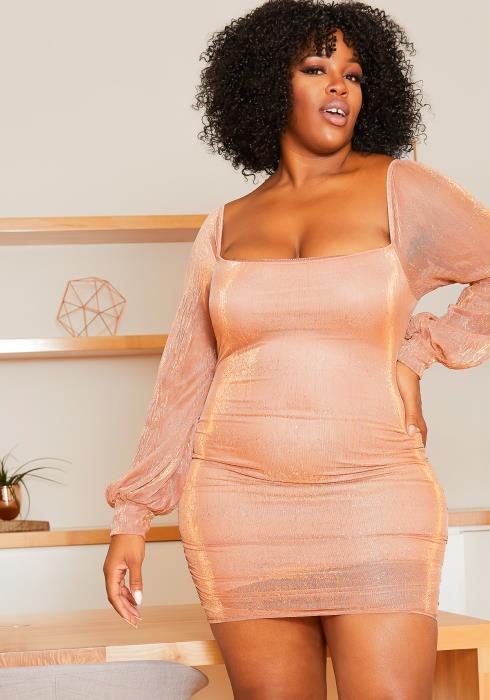 Asoph Plus Size Champagne Shimmer Bodycon Womens Mini Dress