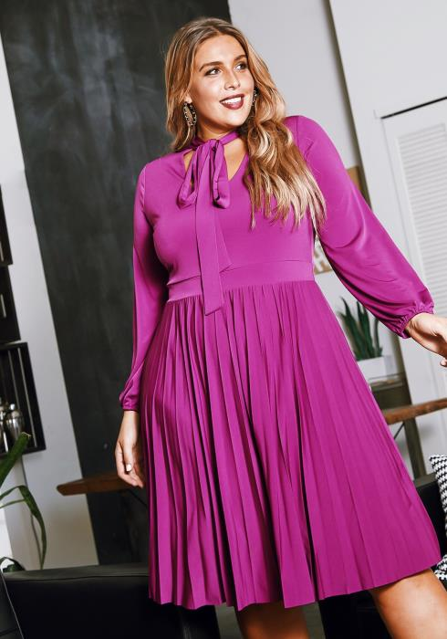 Asoph Plus Size Bow Collar Pleated Womens Fit & Flare Midi Dress