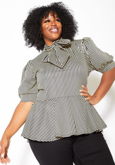 Asoph Plus Size Striped Womens Bow Collar Peplum Top