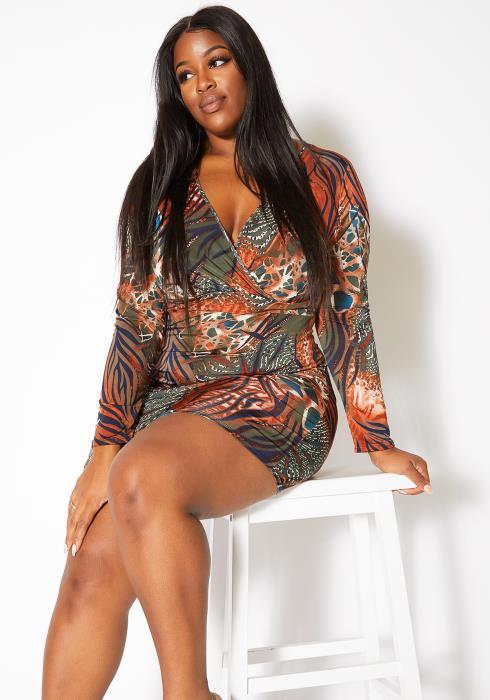 Asoph Plus Size Unforgettable Womens Bodycon Mini Dress