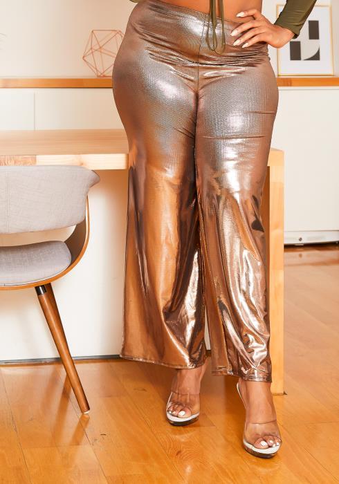 Asoph Plus Size Womens Rose Golden Metallic Flare Pants