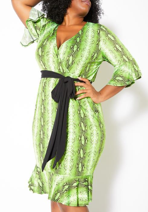 Asoph Plus Size Womens Vibrant Snakeskin Midi Dress