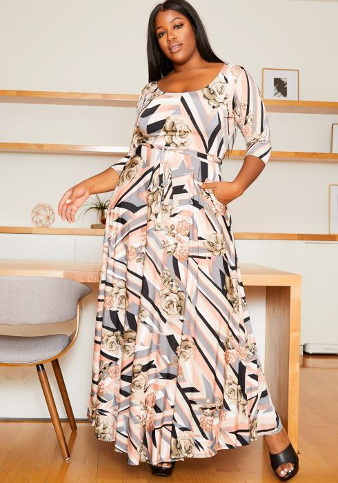 Asoph Plus Size Devine Rose Patterned Women Maxi Dress