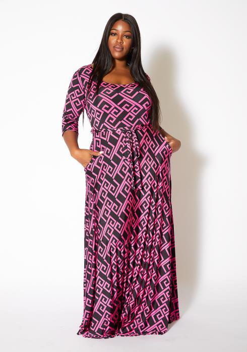 Asoph Plus Size Magenta Greek Key Patterned Women Maxi Dress