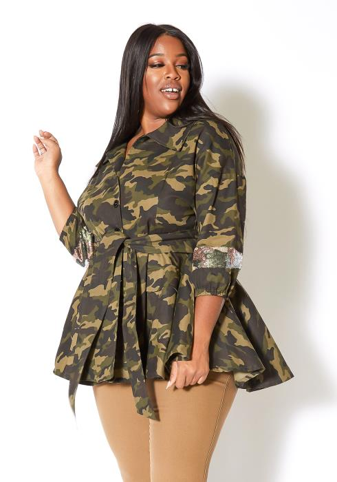 Asoph Plus Size Womens Sparkling Camouflage Peplum Collar Jacket