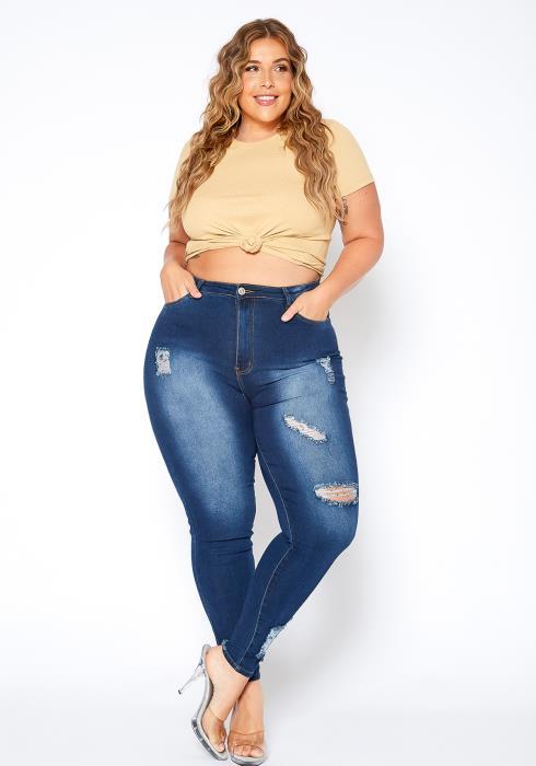 Asoph Plus Size Ripped Dark Wash Skinny Jean