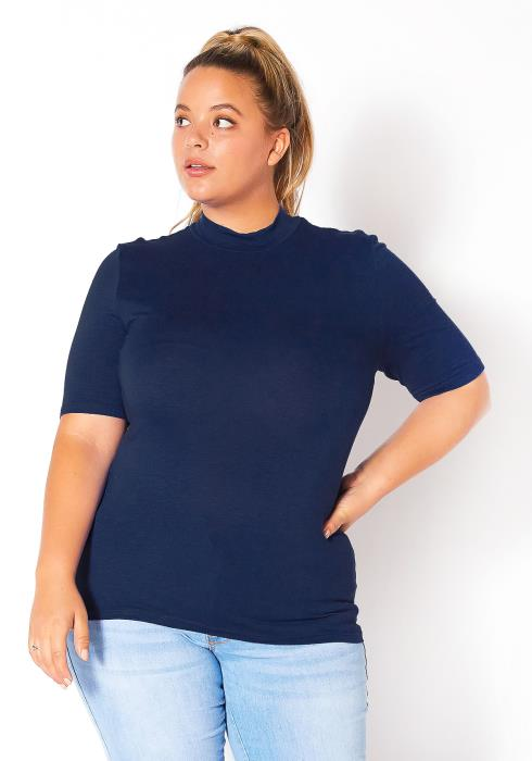 Bellatrix Plus Size Womens Half Sleeve Mock Neck Top
