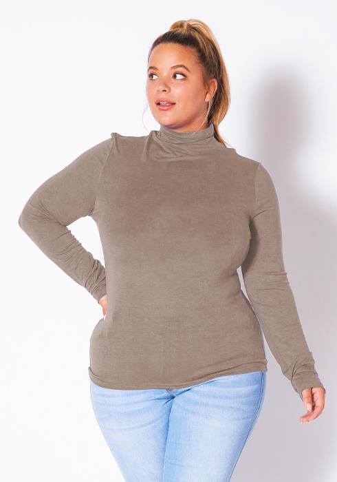 Bellatrix Plus Size Womens Long Sleeve Turtle Neck Top