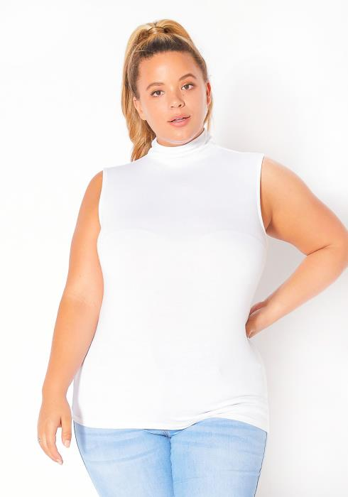 Bellatrix Plus Size Sleeveless Turtle Neck Fitted Top