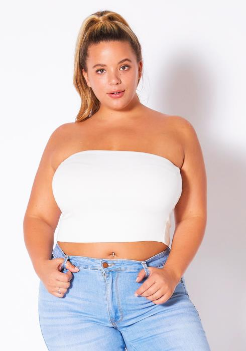 Asoph Plus Size Off Shoulder Cropped Tube Top