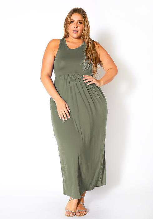 Bellatrix Plus Size Sleeveless Ruched Maxi Dress