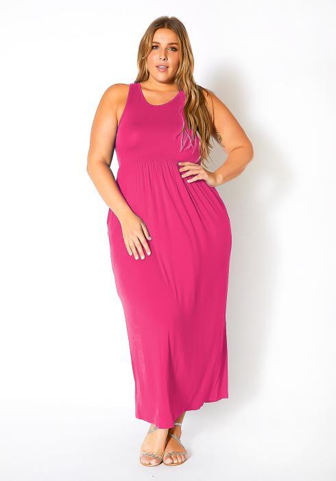 Bellatrix Plus Size Sleeveless Ruched Maxi Dress