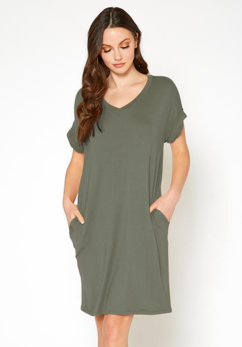 Bellatrix Womens Round Neck T-Shirt Dress With Pocket