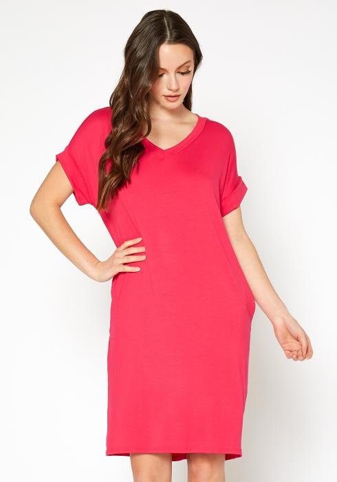 Bellatrix Womens Round Neck T-Shirt Dress With Pocket