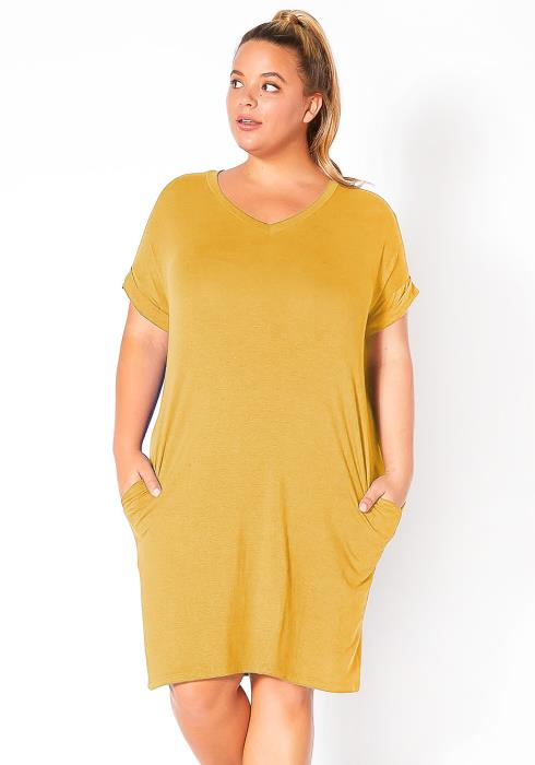 Bellatrix Plus Size Round Neck T-Shirt Dress With Pocket