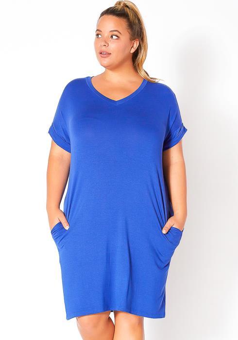 Bellatrix Plus Size Round Neck T-Shirt Dress With Pocket