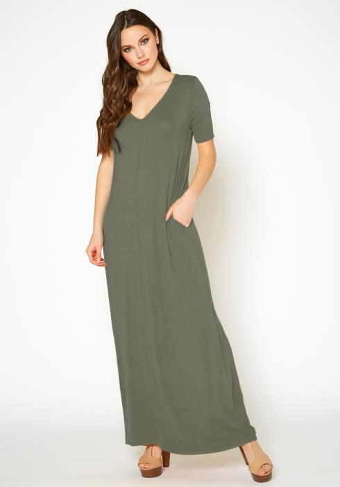 Bellatrix Womens V-Neck Short Sleeve Maxi Dress With Pockets