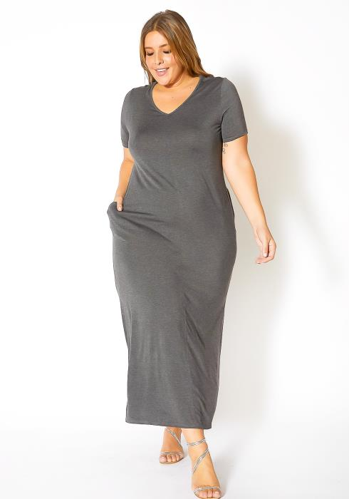 Bellatrix Plus Size V-Neck Short Sleeve Maxi Dress With Pockets