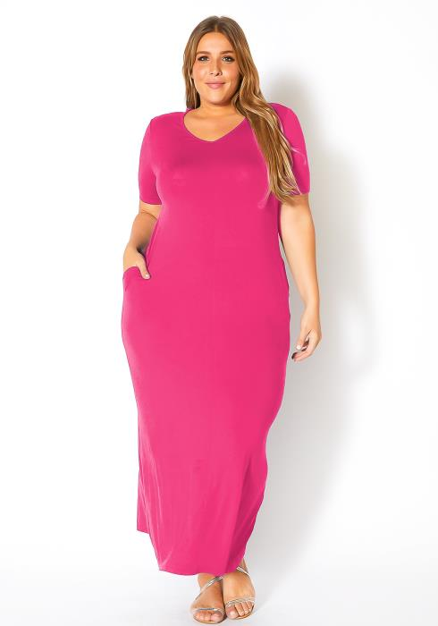 Bellatrix Plus Size V-Neck Short Sleeve Maxi Dress With Pockets
