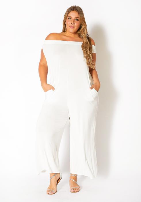 Bellatrix Plus Size Off Shoulder Wide Leg Jumpsuit