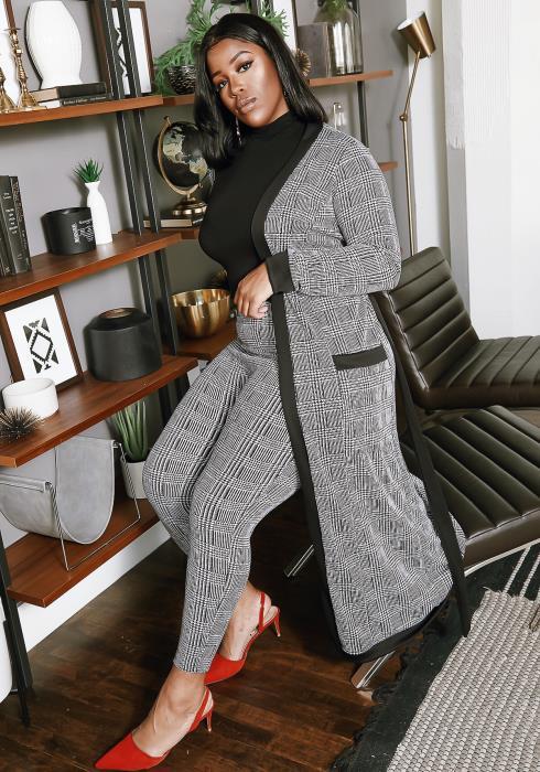 Asoph Curvy Womens Full Plaid Longline Cardigan & Fitted Pants Set
