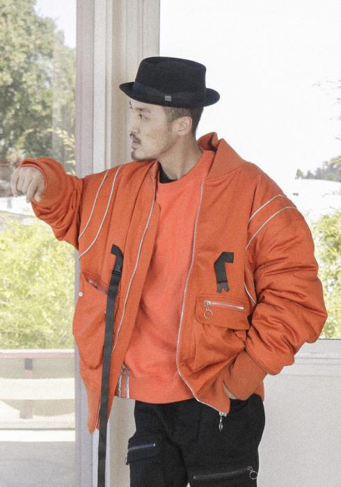 Oversized Bomber Jacket with Reflective Piping